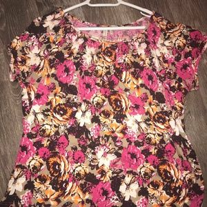 Short Sleeve Blouse with Multicolor Flowers